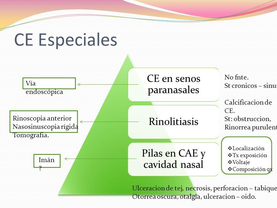 CE Especiales CE en senos paranasales Rinolitiasis Pilas en CAE y cavidad nasal Vía endoscópica Rinoscopia anterior Nasosinuscopia rígida Tomografia.