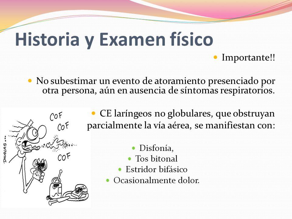 Historia y Examen físico Importante!! No subestimar un evento de atoramiento presenciado por otra persona, aún en ausencia de síntomas respiratorios.