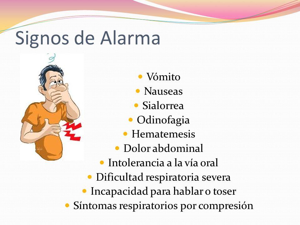 Signos de Alarma Vómito Nauseas Sialorrea Odinofagia Hematemesis Dolor abdominal Intolerancia a la vía oral Dificultad respiratoria severa Incapacidad