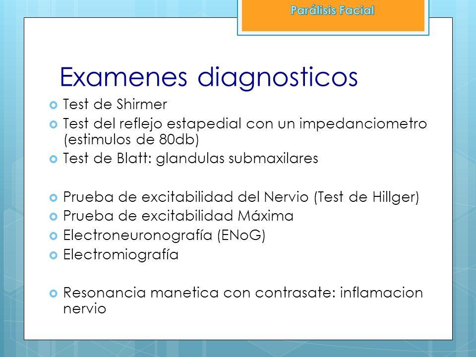 Examenes diagnosticos Test de Shirmer Test del reflejo estapedial con un impedanciometro (estimulos de 80db) Test de Blatt: glandulas submaxilares Pru