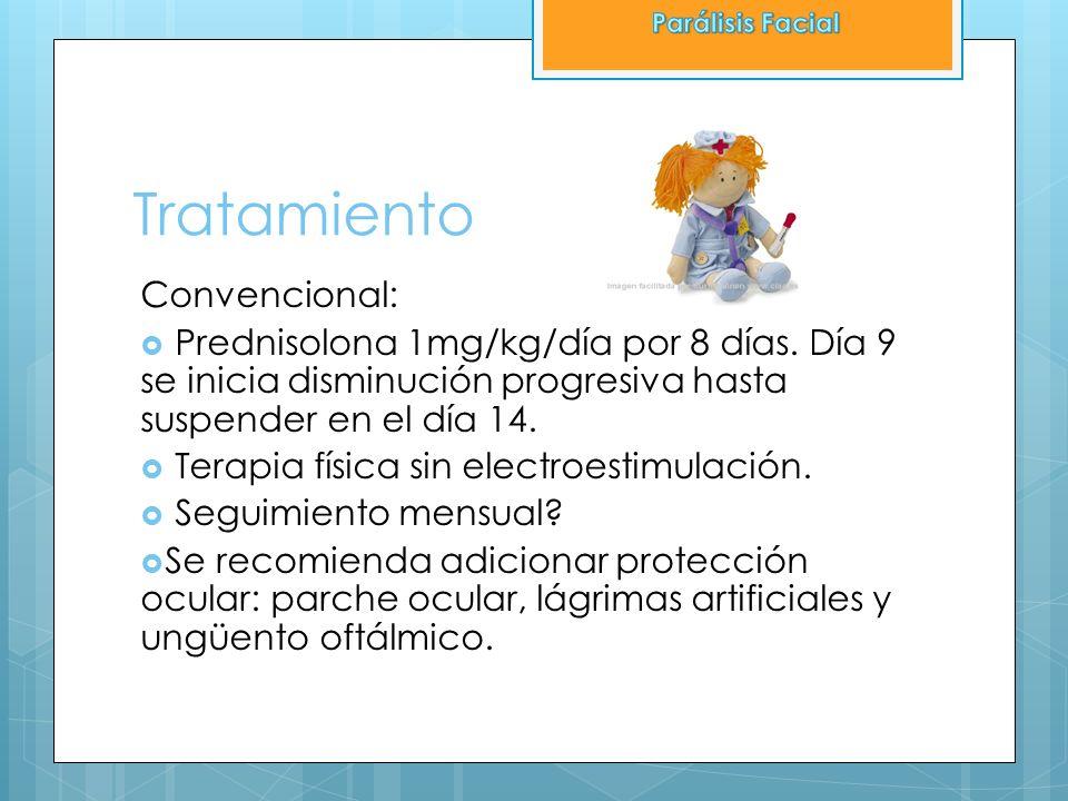 Tratamiento Convencional: Prednisolona 1mg/kg/día por 8 días. Día 9 se inicia disminución progresiva hasta suspender en el día 14. Terapia física sin