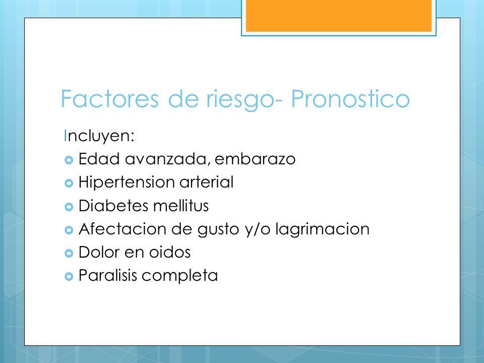 Factores de riesgo- Pronostico Incluyen: Edad avanzada, embarazo Hipertension arterial Diabetes mellitus Afectacion de gusto y/o lagrimacion Dolor en