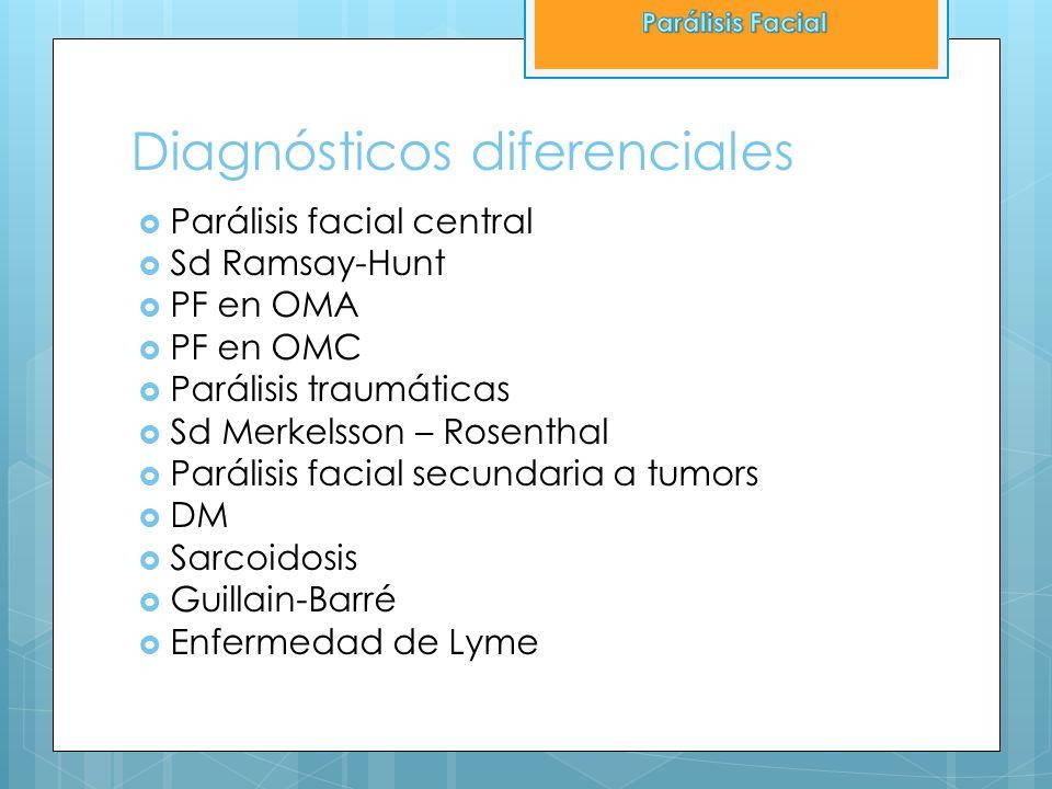 Diagnósticos diferenciales Parálisis facial central Sd Ramsay-Hunt PF en OMA PF en OMC Parálisis traumáticas Sd Merkelsson – Rosenthal Parálisis facia
