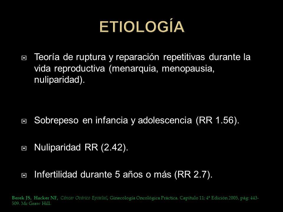 Teoría de ruptura y reparación repetitivas durante la vida reproductiva (menarquia, menopausia, nuliparidad). Sobrepeso en infancia y adolescencia (RR