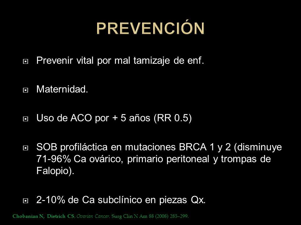 Prevenir vital por mal tamizaje de enf. Maternidad. Uso de ACO por + 5 años (RR 0.5) SOB profiláctica en mutaciones BRCA 1 y 2 (disminuye 71-96% Ca ov