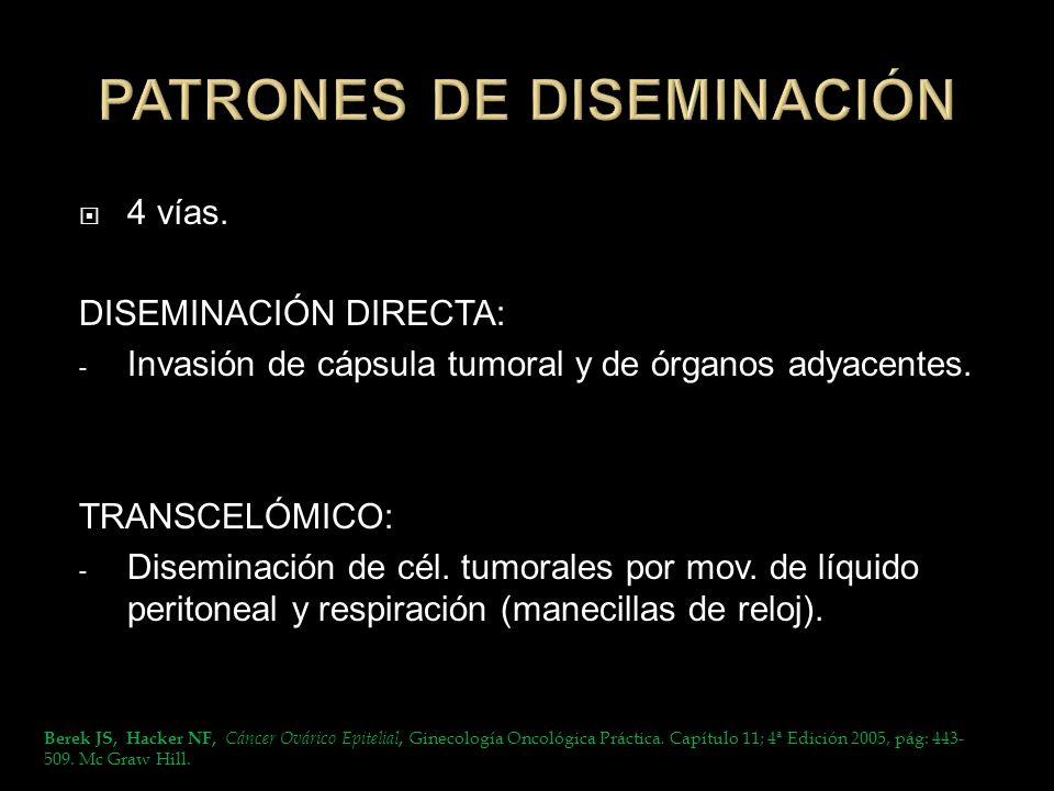4 vías. DISEMINACIÓN DIRECTA: - Invasión de cápsula tumoral y de órganos adyacentes. TRANSCELÓMICO: - Diseminación de cél. tumorales por mov. de líqui