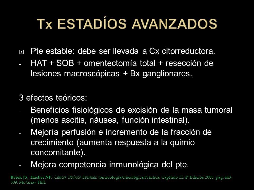 Pte estable: debe ser llevada a Cx citorreductora. - HAT + SOB + omentectomía total + resección de lesiones macroscópicas + Bx ganglionares. 3 efectos