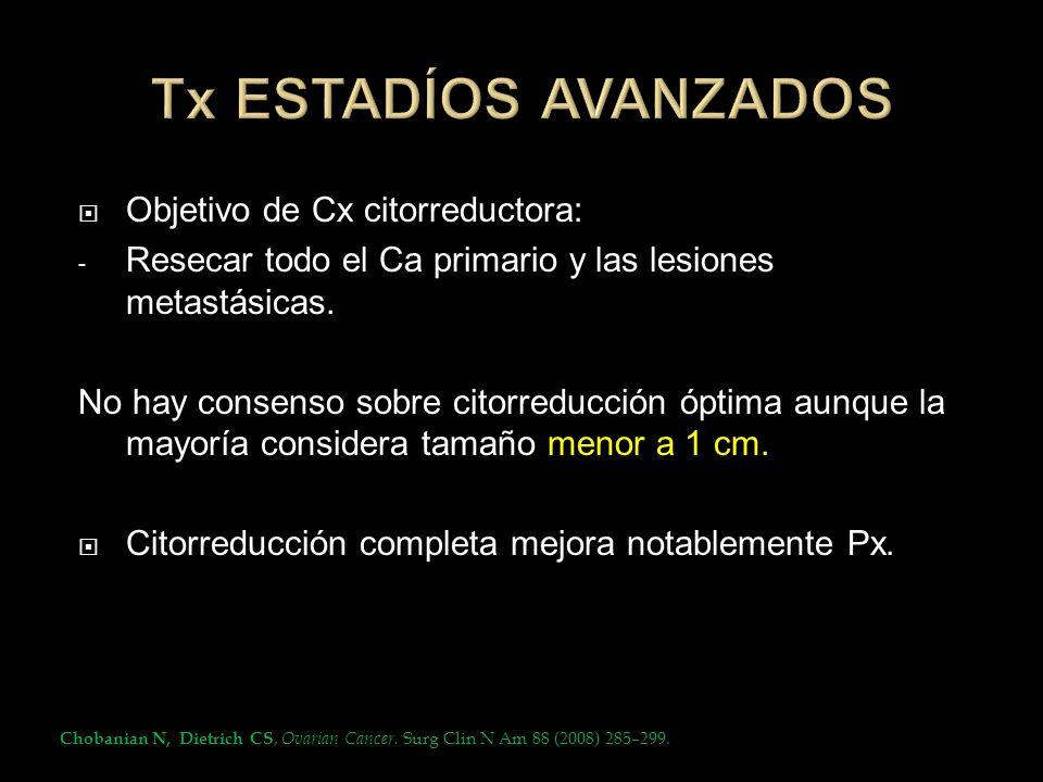Objetivo de Cx citorreductora: - Resecar todo el Ca primario y las lesiones metastásicas. No hay consenso sobre citorreducción óptima aunque la mayorí