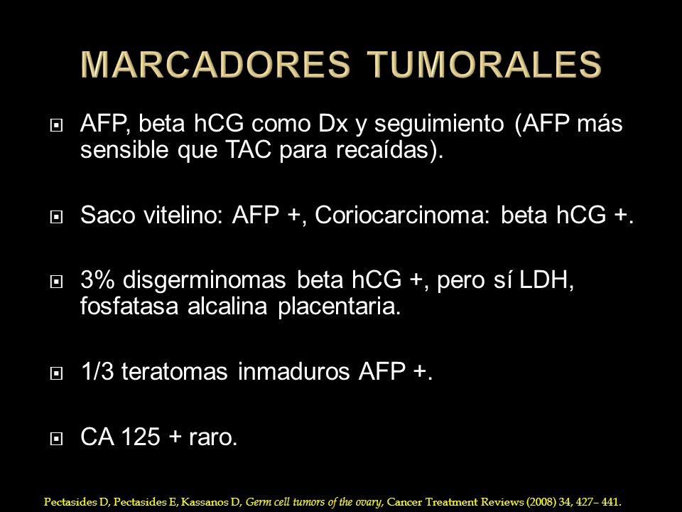 AFP, beta hCG como Dx y seguimiento (AFP más sensible que TAC para recaídas). Saco vitelino: AFP +, Coriocarcinoma: beta hCG +. 3% disgerminomas beta