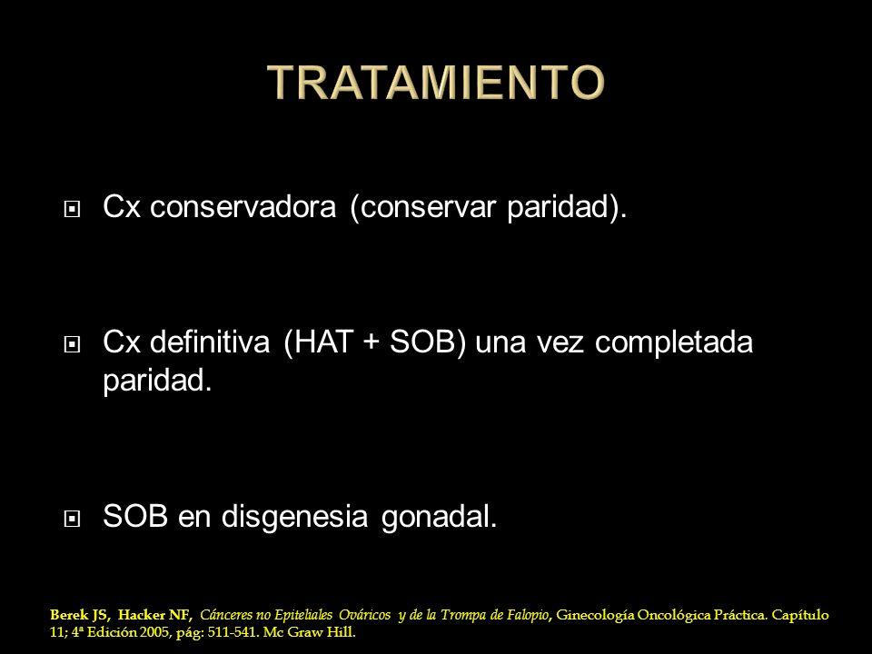 Cx conservadora (conservar paridad). Cx definitiva (HAT + SOB) una vez completada paridad. SOB en disgenesia gonadal. Berek JS, Hacker NF, Cánceres no
