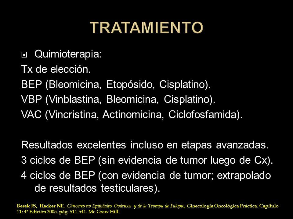 Quimioterapia: Tx de elección. BEP (Bleomicina, Etopósido, Cisplatino). VBP (Vinblastina, Bleomicina, Cisplatino). VAC (Vincristina, Actinomicina, Cic