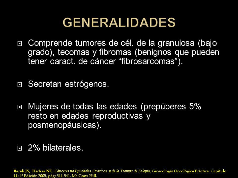 Comprende tumores de cél. de la granulosa (bajo grado), tecomas y fibromas (benignos que pueden tener caract. de cáncer fibrosarcomas). Secretan estró