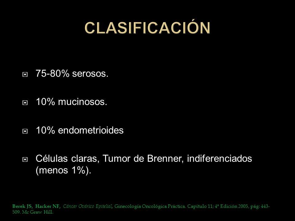 ESTADÍO II Compromiso de 1 ó ambos ovarios con extensión a la pelvis Estadío IIA: Extensión y/o metástasis al útero y/o las trompas.