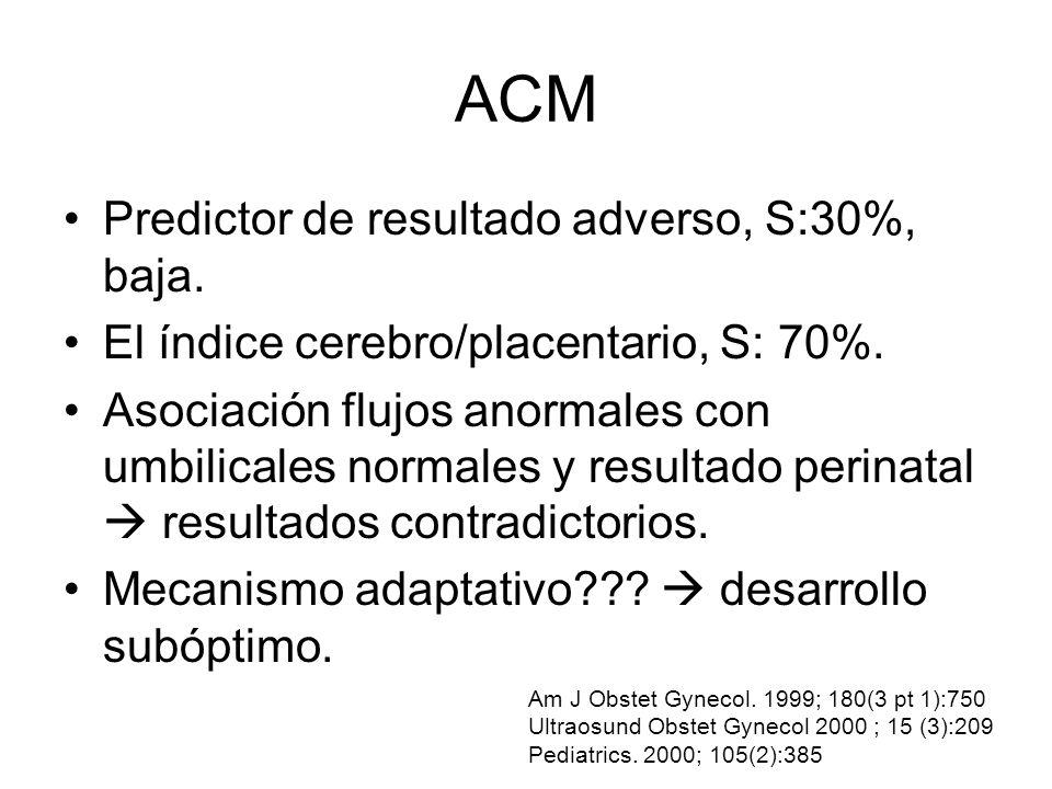 ACM Predictor de resultado adverso, S:30%, baja. El índice cerebro/placentario, S: 70%. Asociación flujos anormales con umbilicales normales y resulta