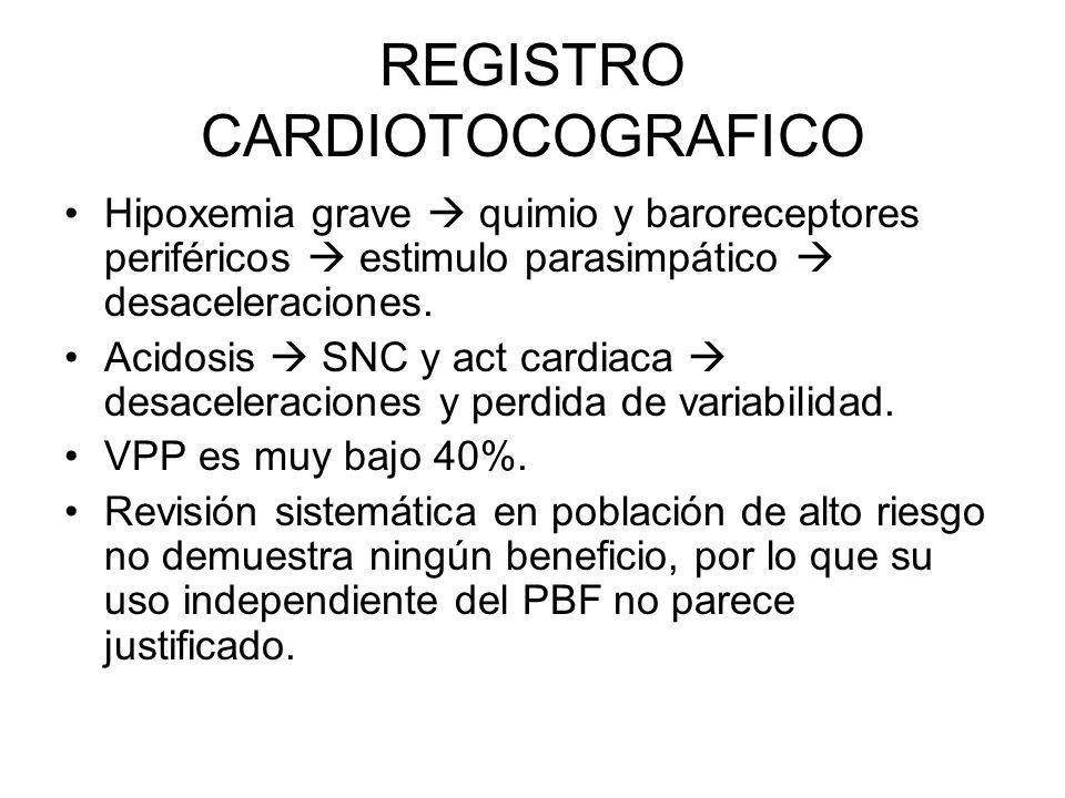REGISTRO CARDIOTOCOGRAFICO Hipoxemia grave quimio y baroreceptores periféricos estimulo parasimpático desaceleraciones. Acidosis SNC y act cardiaca de