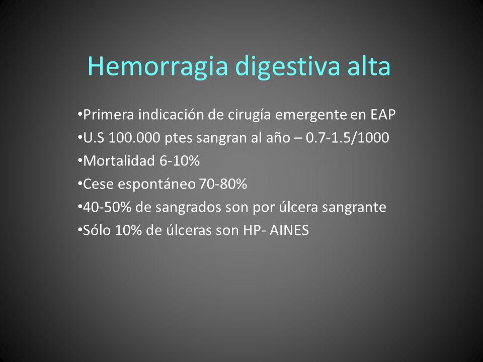Hemorragia digestiva alta Primera indicación de cirugía emergente en EAP U.S 100.000 ptes sangran al año – 0.7-1.5/1000 Mortalidad 6-10% Cese espontán