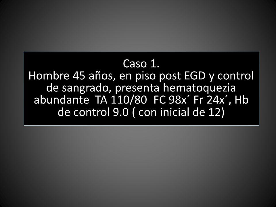 Caso 1. Hombre 45 años, en piso post EGD y control de sangrado, presenta hematoquezia abundante TA 110/80 FC 98x´ Fr 24x´, Hb de control 9.0 ( con ini