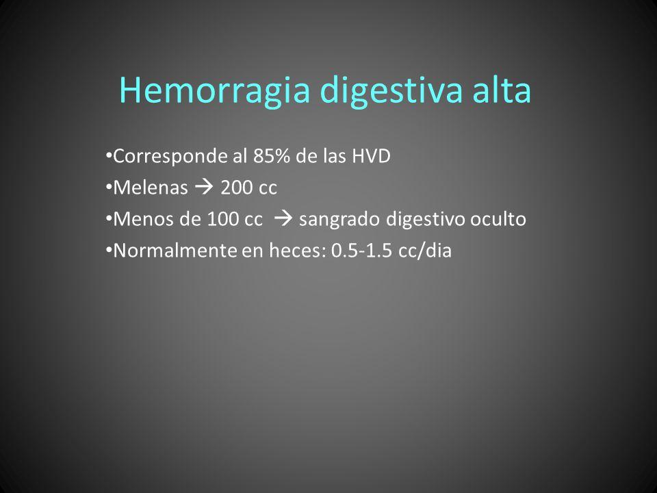 Hemorragia digestiva alta Corresponde al 85% de las HVD Melenas 200 cc Menos de 100 cc sangrado digestivo oculto Normalmente en heces: 0.5-1.5 cc/dia