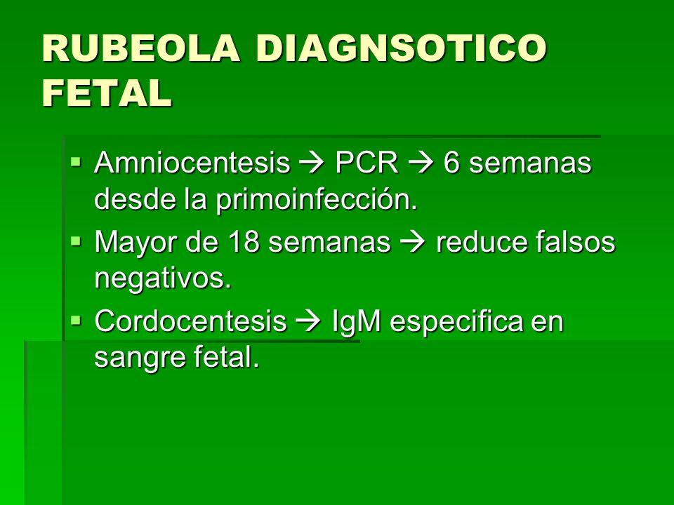 RUBEOLA DIAGNSOTICO FETAL Amniocentesis PCR 6 semanas desde la primoinfección. Amniocentesis PCR 6 semanas desde la primoinfección. Mayor de 18 semana