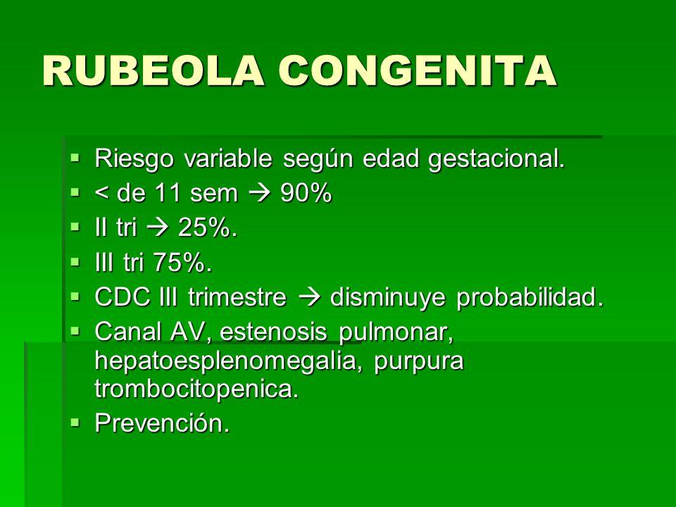 RUBEOLA CONGENITA Riesgo variable según edad gestacional. Riesgo variable según edad gestacional. < de 11 sem 90% < de 11 sem 90% II tri 25%. II tri 2