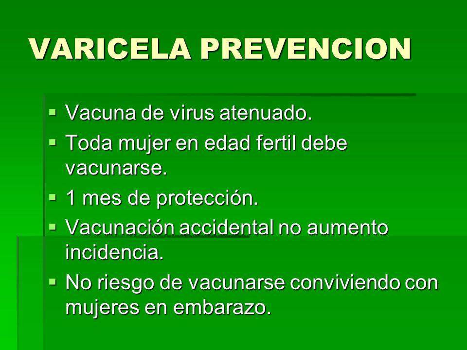 VARICELA PREVENCION Vacuna de virus atenuado. Vacuna de virus atenuado. Toda mujer en edad fertil debe vacunarse. Toda mujer en edad fertil debe vacun