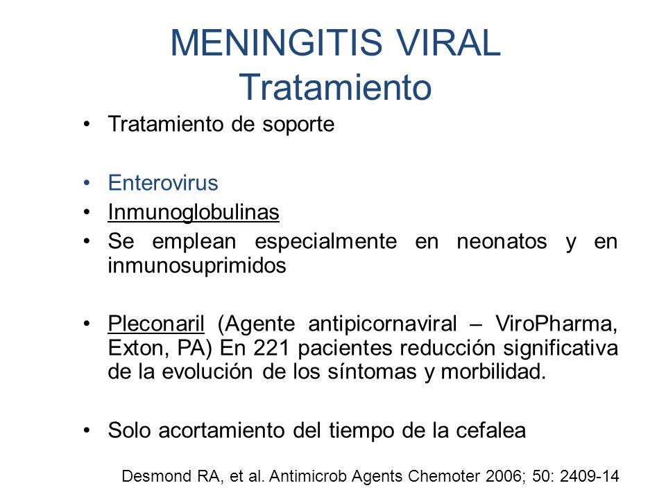 MENINGITIS VIRAL Tratamiento Tratamiento de soporte Enterovirus Inmunoglobulinas Se emplean especialmente en neonatos y en inmunosuprimidos Pleconaril