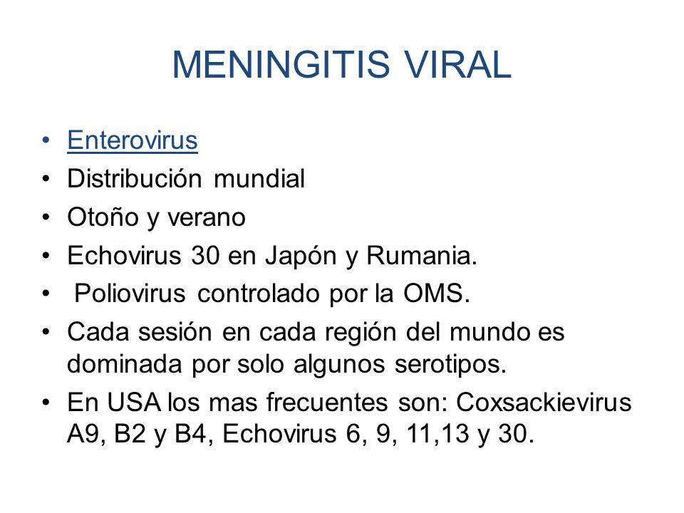 MENINGITIS VIRAL Enterovirus Distribución mundial Otoño y verano Echovirus 30 en Japón y Rumania. Poliovirus controlado por la OMS. Cada sesión en cad