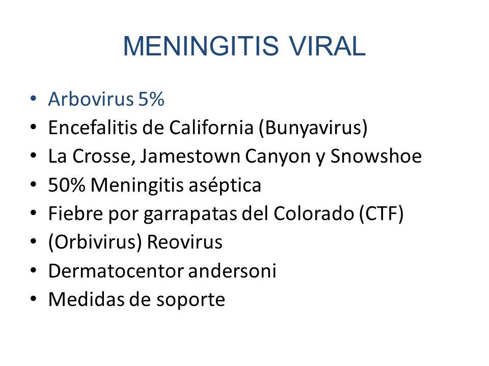 MENINGITIS VIRAL Arbovirus 5% Encefalitis de California (Bunyavirus) La Crosse, Jamestown Canyon y Snowshoe 50% Meningitis aséptica Fiebre por garrapa