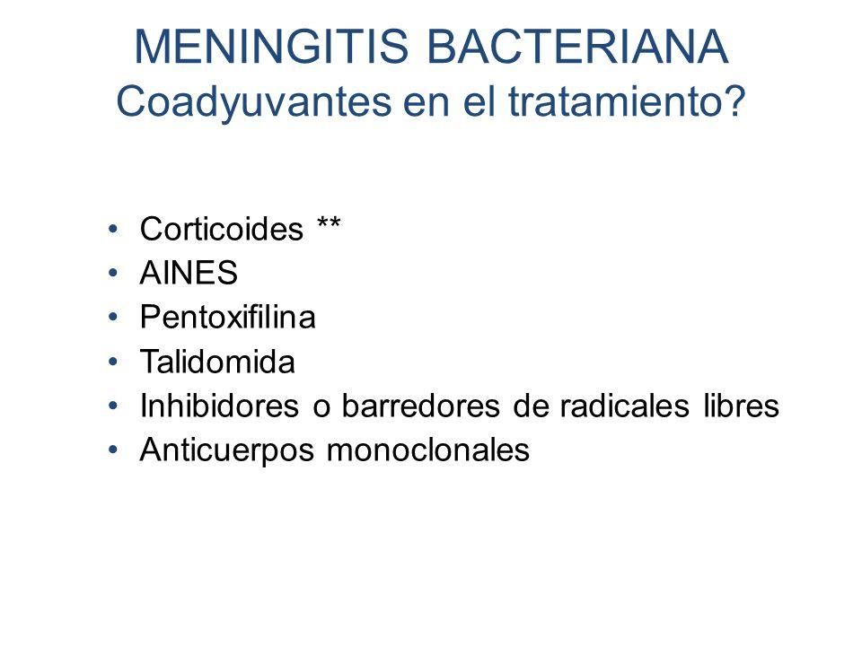 MENINGITIS BACTERIANA Coadyuvantes en el tratamiento? Corticoides ** AINES Pentoxifilina Talidomida Inhibidores o barredores de radicales libres Antic