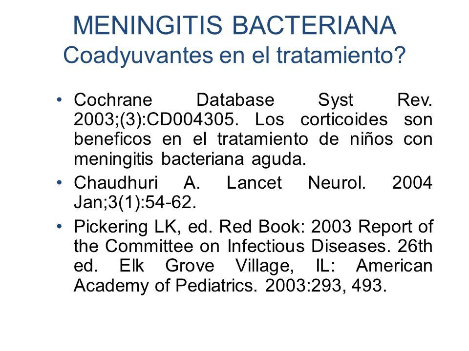 MENINGITIS BACTERIANA Coadyuvantes en el tratamiento? Cochrane Database Syst Rev. 2003;(3):CD004305. Los corticoides son beneficos en el tratamiento d