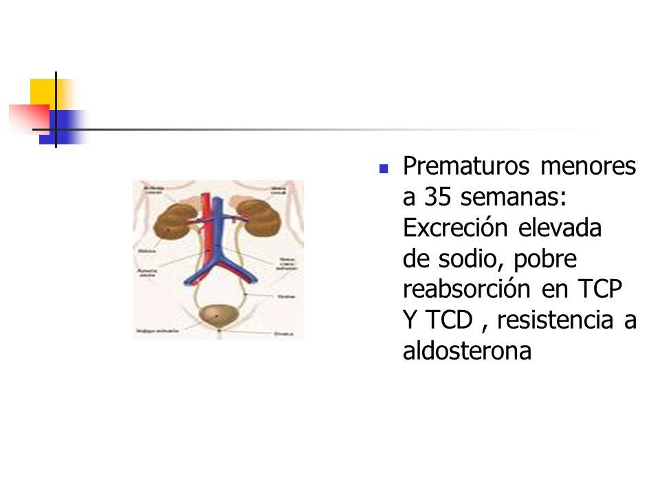 Prematuros menores a 35 semanas: Excreción elevada de sodio, pobre reabsorción en TCP Y TCD, resistencia a aldosterona
