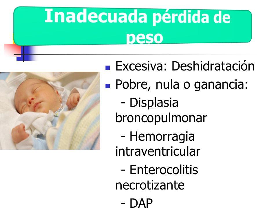 Excesiva: Deshidratación Pobre, nula o ganancia: - Displasia broncopulmonar - Hemorragia intraventricular - Enterocolitis necrotizante - DAP