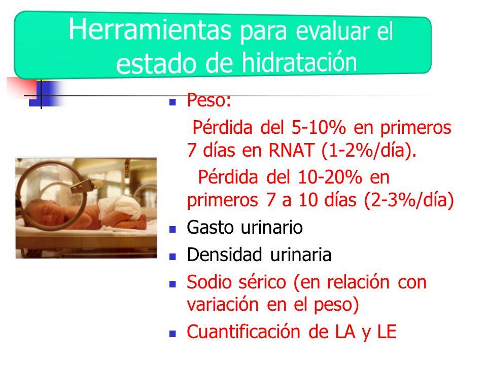 Peso: Pérdida del 5-10% en primeros 7 días en RNAT (1-2%/día). Pérdida del 10-20% en primeros 7 a 10 días (2-3%/día) Gasto urinario Densidad urinaria
