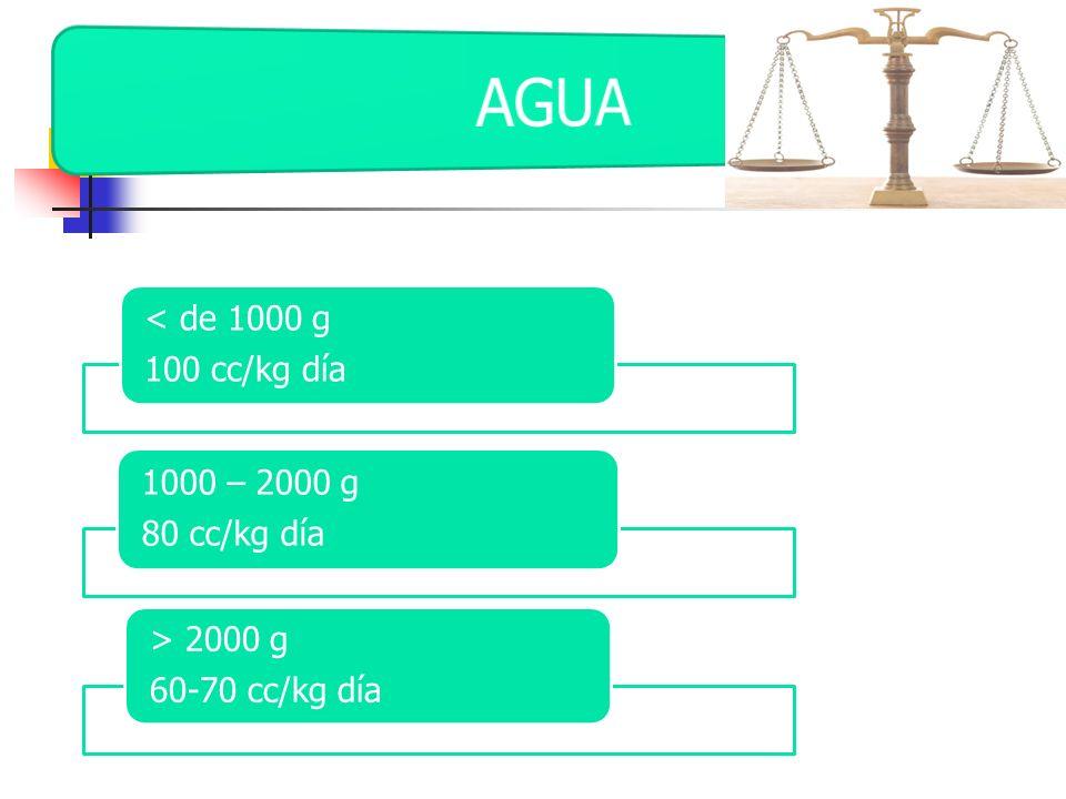 < de 1000 g 100 cc/kg día 1000 – 2000 g 80 cc/kg día > 2000 g 60-70 cc/kg día