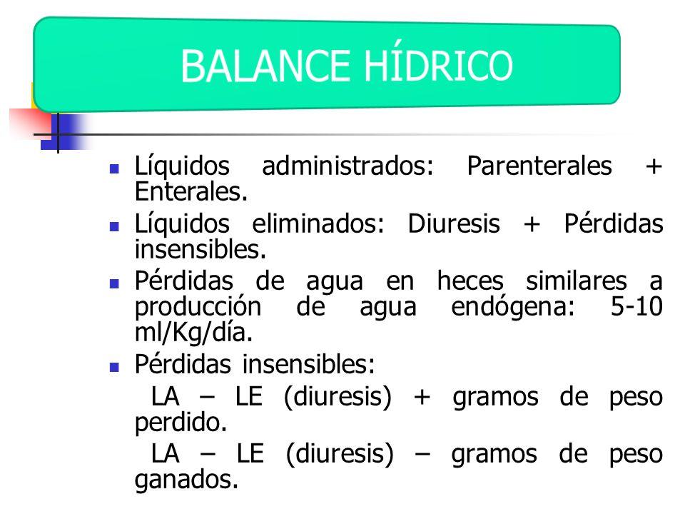 Líquidos administrados: Parenterales + Enterales. Líquidos eliminados: Diuresis + Pérdidas insensibles. Pérdidas de agua en heces similares a producci