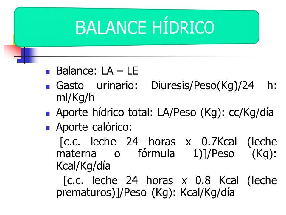 Balance: LA – LE Gasto urinario: Diuresis/Peso(Kg)/24 h: ml/Kg/h Aporte hídrico total: LA/Peso (Kg): cc/Kg/día Aporte calórico: [c.c. leche 24 horas x