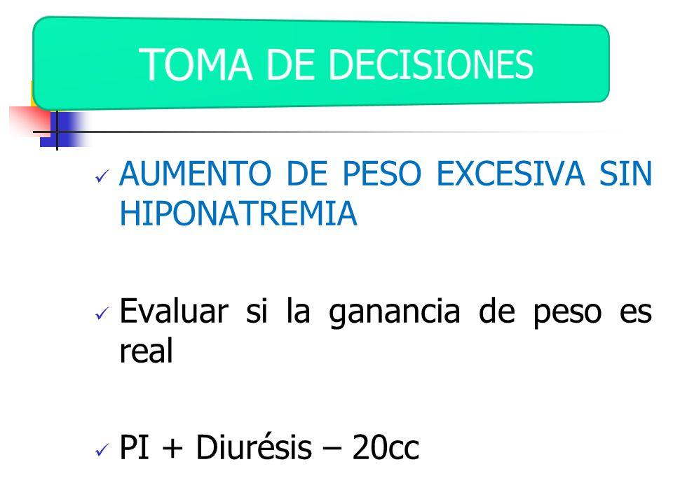 AUMENTO DE PESO EXCESIVA SIN HIPONATREMIA Evaluar si la ganancia de peso es real PI + Diurésis – 20cc