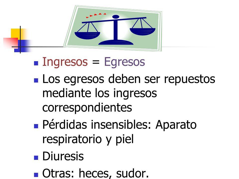Ingresos = Egresos Los egresos deben ser repuestos mediante los ingresos correspondientes Pérdidas insensibles: Aparato respiratorio y piel Diuresis O