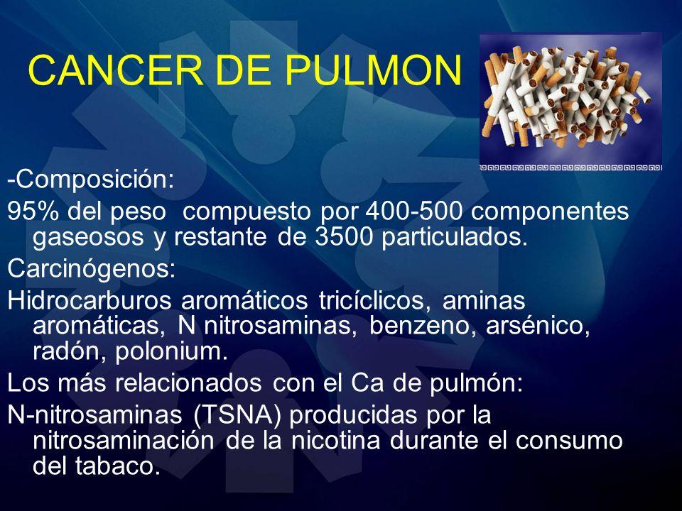 CANCER DE PULMON -Composición: 95% del peso compuesto por 400-500 componentes gaseosos y restante de 3500 particulados. Carcinógenos: Hidrocarburos ar