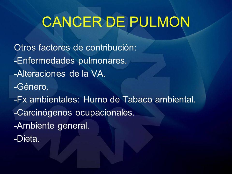 CANCER DE PULMON Otros factores de contribución: -Enfermedades pulmonares. -Alteraciones de la VA. -Género. -Fx ambientales: Humo de Tabaco ambiental.