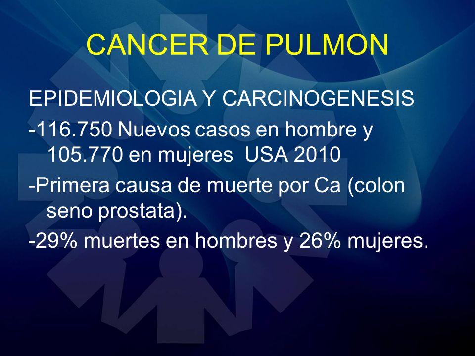 CANCER DE PULMON EPIDEMIOLOGIA Y CARCINOGENESIS -116.750 Nuevos casos en hombre y 105.770 en mujeres USA 2010 -Primera causa de muerte por Ca (colon s