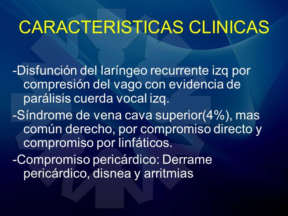 CARACTERISTICAS CLINICAS -Disfunción del laríngeo recurrente izq por compresión del vago con evidencia de parálisis cuerda vocal izq. -Síndrome de ven