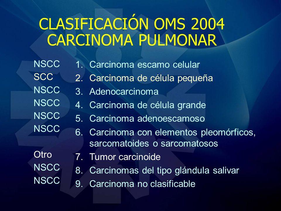 CLASIFICACIÓN OMS 2004 CARCINOMA PULMONAR 1.Carcinoma escamo celular 2.Carcinoma de célula pequeña 3.Adenocarcinoma 4.Carcinoma de célula grande 5.Car