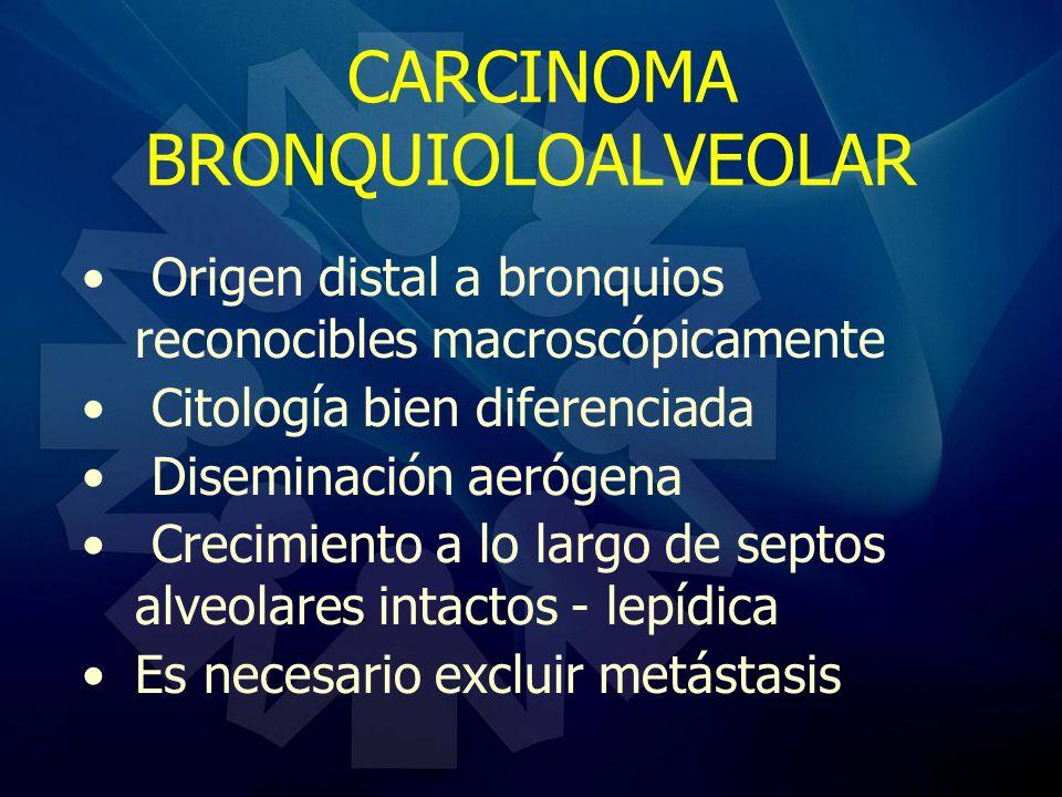 CARCINOMA BRONQUIOLOALVEOLAR Origen distal a bronquios reconocibles macroscópicamente Citología bien diferenciada Diseminación aerógena Crecimiento a