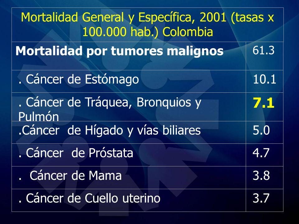 Mortalidad General y Específica, 2001 (tasas x 100.000 hab.) Colombia Mortalidad por tumores malignos 61.3. Cáncer de Estómago10.1. Cáncer de Tráquea,