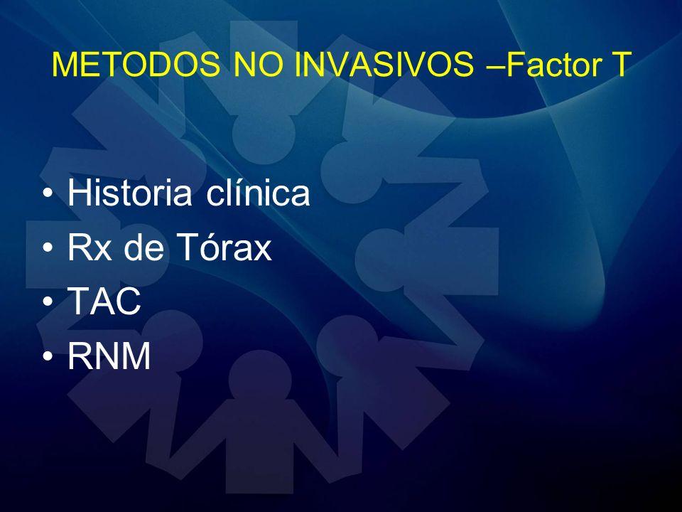 METODOS NO INVASIVOS –Factor T Historia clínica Rx de Tórax TAC RNM