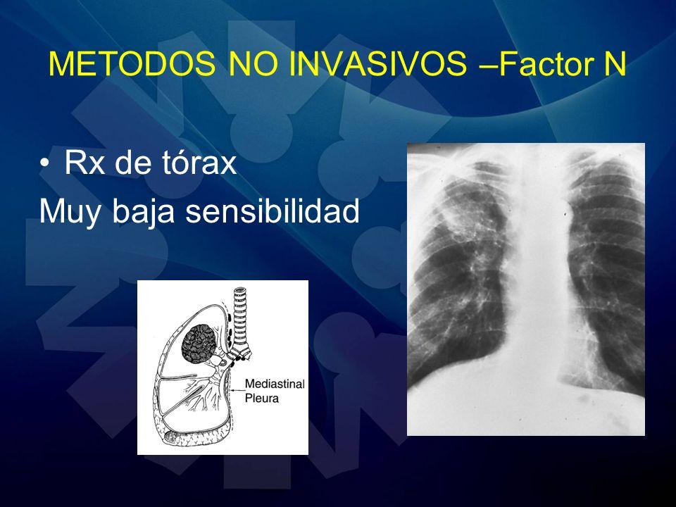 METODOS NO INVASIVOS –Factor N Rx de tórax Muy baja sensibilidad