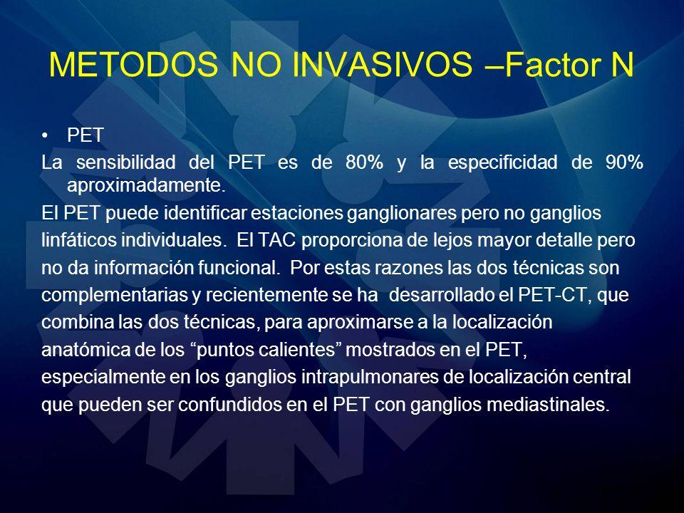PET La sensibilidad del PET es de 80% y la especificidad de 90% aproximadamente. El PET puede identificar estaciones ganglionares pero no ganglios lin
