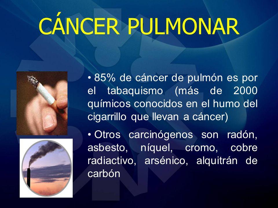 85% de cáncer de pulmón es por el tabaquismo (más de 2000 químicos conocidos en el humo del cigarrillo que llevan a cáncer) Otros carcinógenos son rad