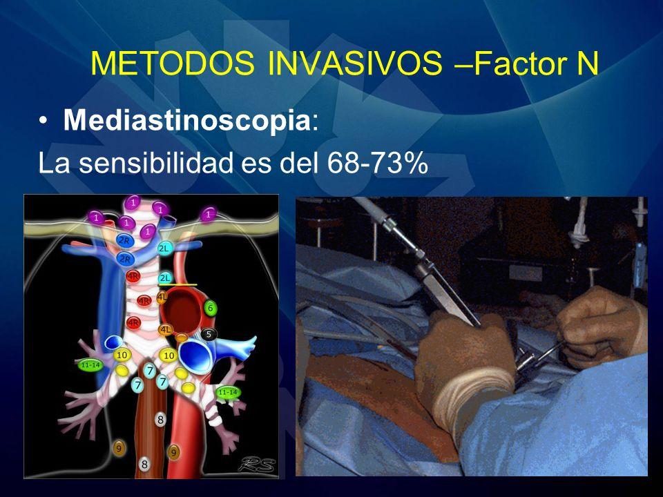 METODOS INVASIVOS –Factor N Mediastinoscopia: La sensibilidad es del 68-73%